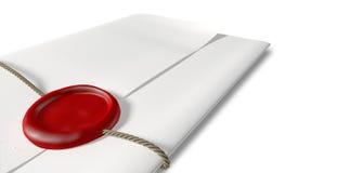 Carta con la guarnizione della cera ed il primo piano rossi della corda Immagine Stock