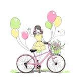 Carta con la ragazza che guida una bici illustrazione di stock