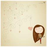 Carta con la ragazza graziosa Fotografia Stock