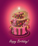 Carta con la torta di compleanno ed i numeri Vettore Colore rosa Immagine Stock