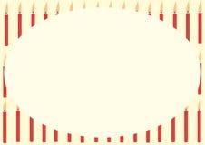 Carta con le candele rosse Fotografie Stock Libere da Diritti