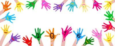 carta 2016 con le mani variopinte Fotografia Stock Libera da Diritti