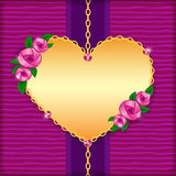 Carta con le rose, il cuore dorato e le gemme rosa Fotografie Stock