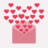 Carta con los corazones Fotos de archivo
