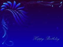 Carta con un buon compleanno di congratulazione nei toni blu scuro Fotografia Stock Libera da Diritti
