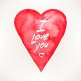 Carta con un cuore dell'acquerello Fotografie Stock Libere da Diritti
