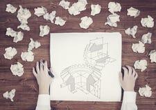 Carta con un meccanismo di ingranaggio Fotografia Stock