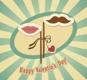 Carta concettuale del biglietto di S. Valentino con i baffi e le labbra. Royalty Illustrazione gratis