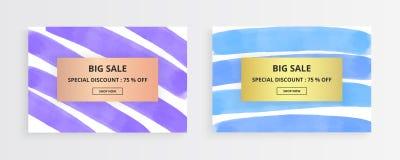 Carta creativa del colpo della spazzola dell'inchiostro Bande dipinte a mano orizzontali dell'acquerello porpora e blu sui preced illustrazione di stock