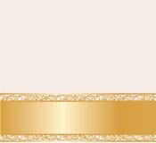 Carta crema d'annata del pizzo dorata Fotografia Stock Libera da Diritti