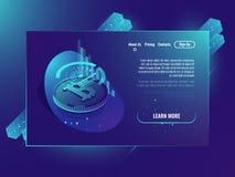 Carta Crypto de la estadística del bitcoin de la explotación minera de la moneda, ultravioleta de neón isométrico de la inversión libre illustration