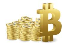 Carta crypto del gráfico del palillo de la moneda de Bitcoin del comercio de la inversión del mercado de acción, punto disparatad stock de ilustración
