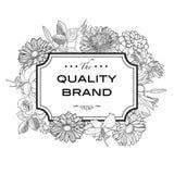 Carta d'annata con i fiori dell'incisione illustrazione di stock