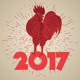 Carta d'annata con il gallo rosso Fotografia Stock Libera da Diritti