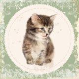 Carta d'annata con il gattino lanuginoso illustrazione vettoriale