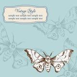 Carta d'annata con le farfalle illustrazione vettoriale