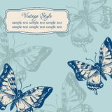 Carta d'annata con le farfalle illustrazione di stock