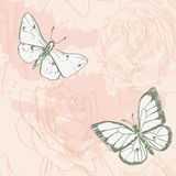 Carta d'annata con le farfalle e le rose royalty illustrazione gratis