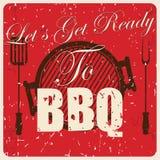 Carta d'annata del BBQ,  Fotografia Stock