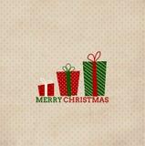 Carta d'annata del nuovo anno e di Natale con la festa g Fotografie Stock Libere da Diritti