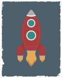 Carta d'annata del razzo Retro modello del manifesto Illustrazione di vettore Fotografia Stock