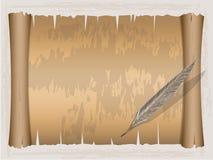 Carta d'annata del rotolo e penna di spoletta royalty illustrazione gratis