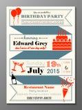Carta d'annata dell'invito della festa di compleanno Immagini Stock Libere da Diritti