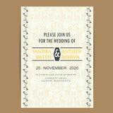 Carta d'annata dell'invito di nozze Immagini Stock