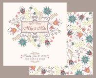 Carta d'annata dell'invito di nozze con gli elementi decorativi floreali ed antichi royalty illustrazione gratis