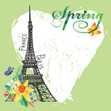Carta d'annata della molla di Parigi Torre Eiffel, acquerello Fotografia Stock