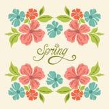 Carta d'annata della primavera con i flowres Fotografia Stock Libera da Diritti