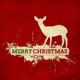 Carta d'annata di Buon Natale con i cervi e lo snowfla Fotografie Stock
