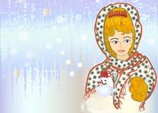 Carta d'annata di Natale con la ragazza disegnata a mano Fotografia Stock