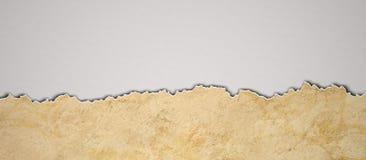 Carta d'annata di Riped carta lacerata del fondo di lerciume sulla vecchia illustrazione di stock