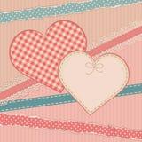 Carta d'annata di saluti con la forma del cuore Immagini Stock