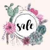Carta d'annata di vendita con i rami ed il succulente Fotografie Stock Libere da Diritti