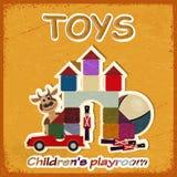 Carta d'annata e un'immagine di vecchi giocattoli - invito nel gioco Fotografie Stock