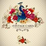 Carta d'annata floreale con il pavone Fotografie Stock
