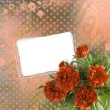 Carta d'annata per le congratulazioni e gli inviti con un mazzo Fotografia Stock Libera da Diritti