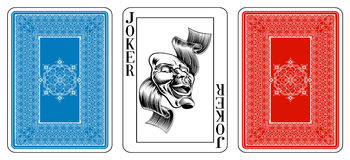 Carta da gioco del burlone di dimensione del poker più l'inverso Immagini Stock