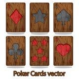 Carta da gioco di legno del poker Fotografia Stock Libera da Diritti