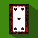 Carta da gioco l'immagine dell'icona è facile CUORE QUATTRO 5 circa la frontiera scura di regione un'illustrazione su fondo verde Immagini Stock Libere da Diritti