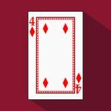Carta da gioco l'immagine dell'icona è facile DIAMONT QUATTRO 4 con bianco un substrato di base Illustrazione su fondo rosso appl Fotografia Stock Libera da Diritti