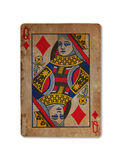 Carta da gioco molto vecchia, regina dei diamanti Fotografia Stock