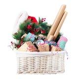 Carta da imballaggio blu beige dei regali di Natale dell'imballaggio Fotografie Stock