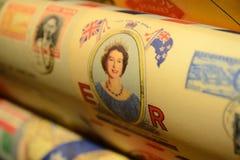 Carta da imballaggio della regina Elizabeth II Londra, 2017 fotografia stock libera da diritti