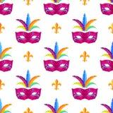 Carta da imballaggio di Mardi Gras Festival Mask Vector Fotografie Stock Libere da Diritti