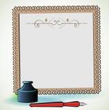 Carta da lettere graziosa con la bottiglia e la penna di inchiostro Immagini Stock