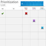 Carta da lista do Prioritization Imagem de Stock