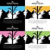 Carta da parati artistica della montagna con colore caldo dell'albero Fotografie Stock Libere da Diritti